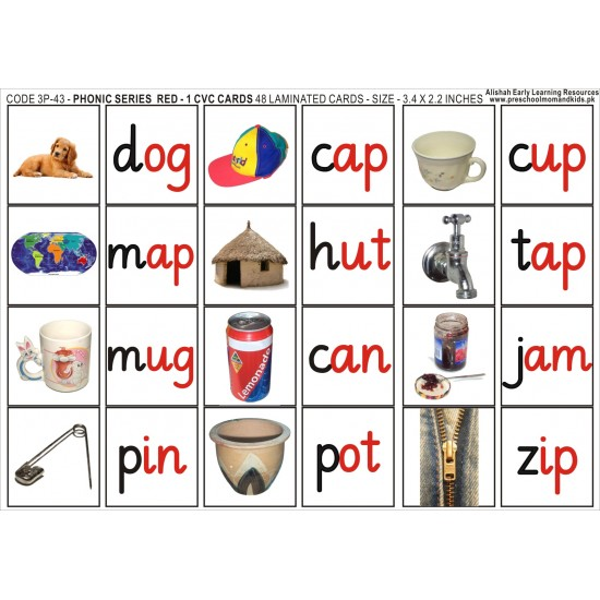 48 PHONIC C V C PICS AND WORD LABELS RED 1